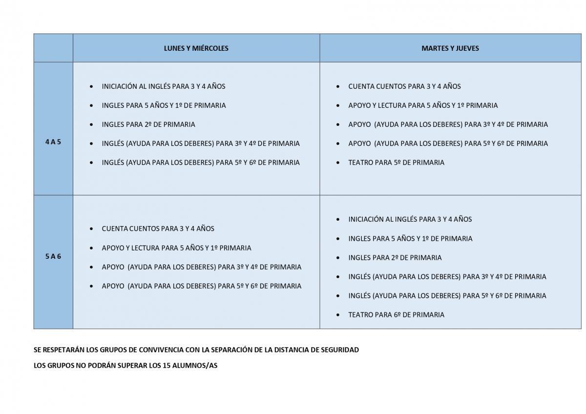 ACTIVIDADES EXTRAESCOLARES 2020-21