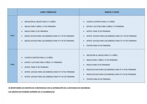 ACTIVIDADES EXTRAESCOLARE2020-21